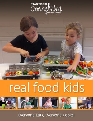 Real Food Kids Cooking Course encourages and empowers moms to teach their children the basics of cooking real food. This course is meant to fit seamlessly into family life and to graduate young adults who can recognize, shop for, and cook real foods, producing healthy, delicious meals with confidence.